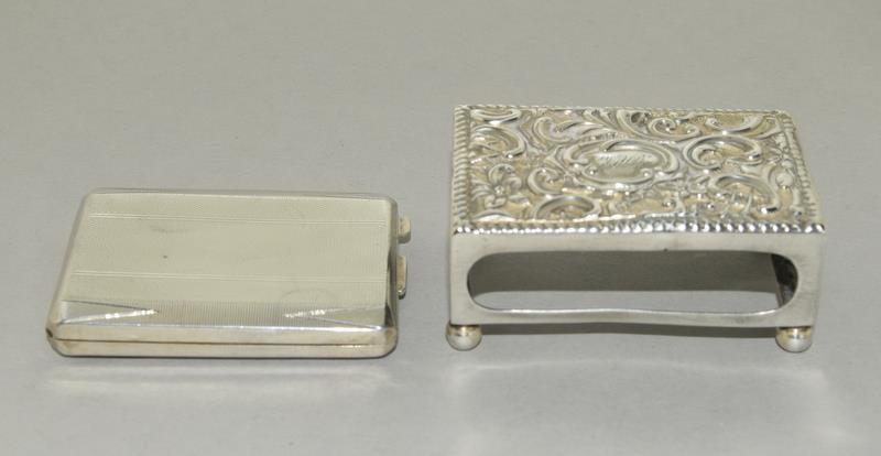 Silver Engine Turned Matchbook Holder and a Silver Matchbox Holder - Image 4 of 4