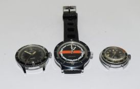 Three vintage divers watches running Ingersoll Timex and Venus