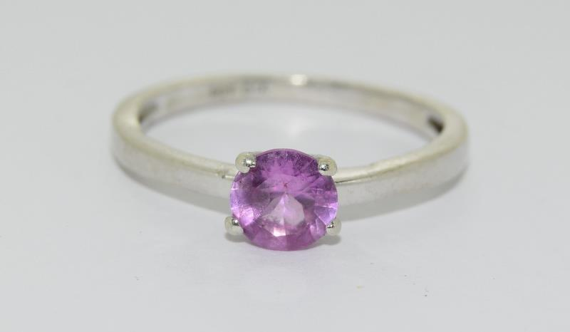9ct White Gold Solitaire Ring. Size Q