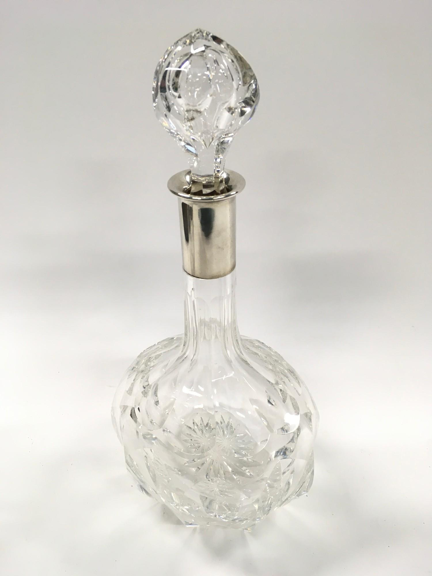German Heavy Crystal Cut Glass Silver Mounted Decanter.