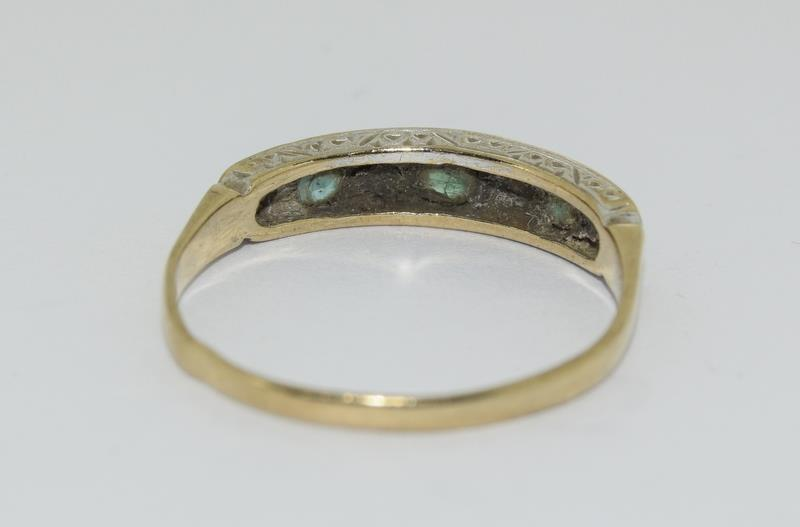 9ct Gold Antique Set Diamond 7 Sapphire Ring. Size O - Image 3 of 5