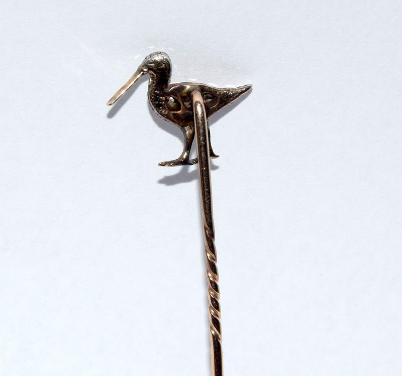 Antique gold and old cut diamond stick pin in the form of a Curlew bird - Image 6 of 7