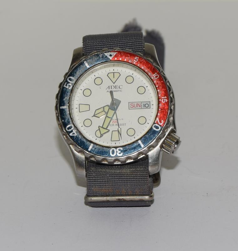 Automatic Adec Diver's Watch on Military Strap, Working. - Image 4 of 10