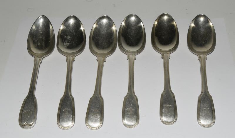Six Silver hallmarked dessert spoons. 315 grams.
