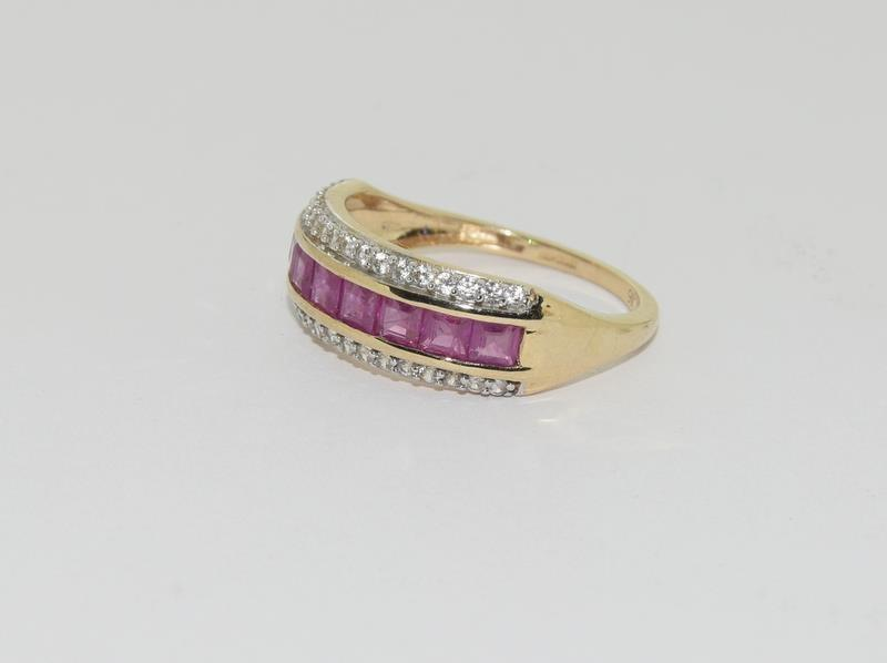 A 9ct gold Burmese ruby Cambodian ring with certificate, size P - Image 5 of 7