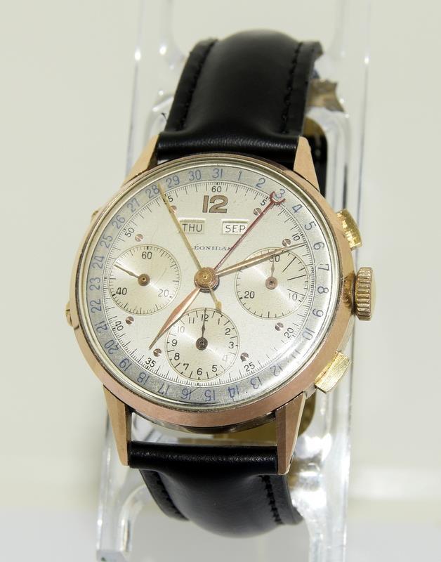 18ct Rose Gold Leonodas Triple Calander Chronograph Wristwatch. No.492472. - Image 6 of 6