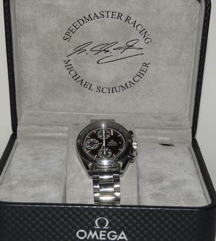 Omega Limited Edition Michael Schumacher watch with box and papers. Number 6977 of 11111. - Image 9 of 9