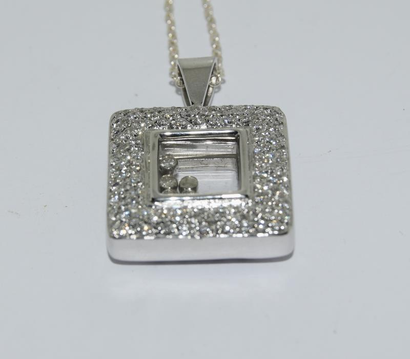 A 14ct white gold diamond Geometric glazed panel pendant. - Image 2 of 5