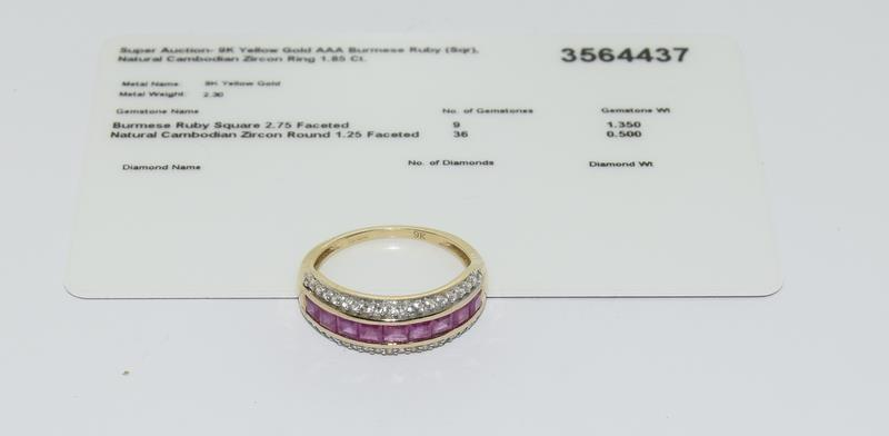 A 9ct gold Burmese ruby Cambodian ring with certificate, size P