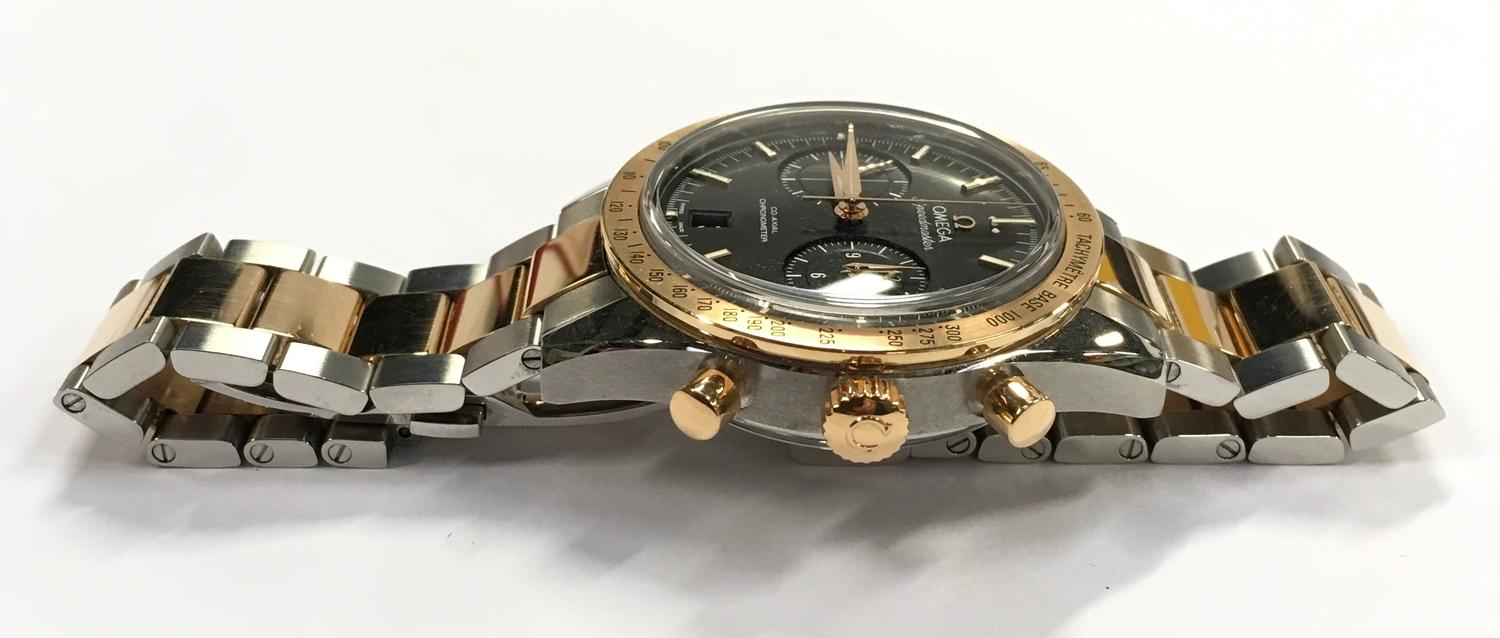 Omega Rose Gold and Stainless Steel Speedmaster Wristwatch, co-axial movement. - Image 4 of 11