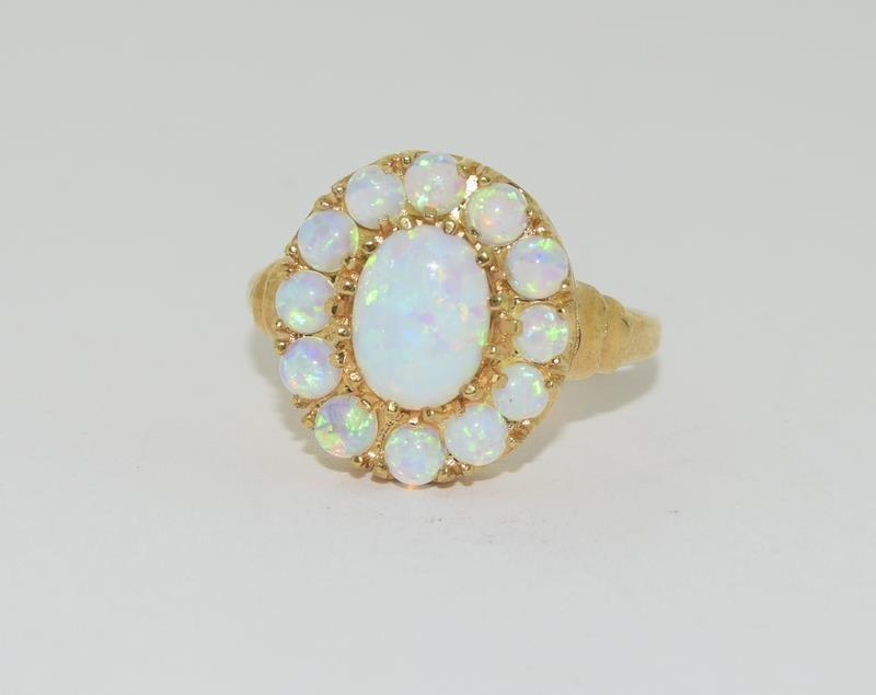9ct Gold On Silver Opaline Cluster ring.