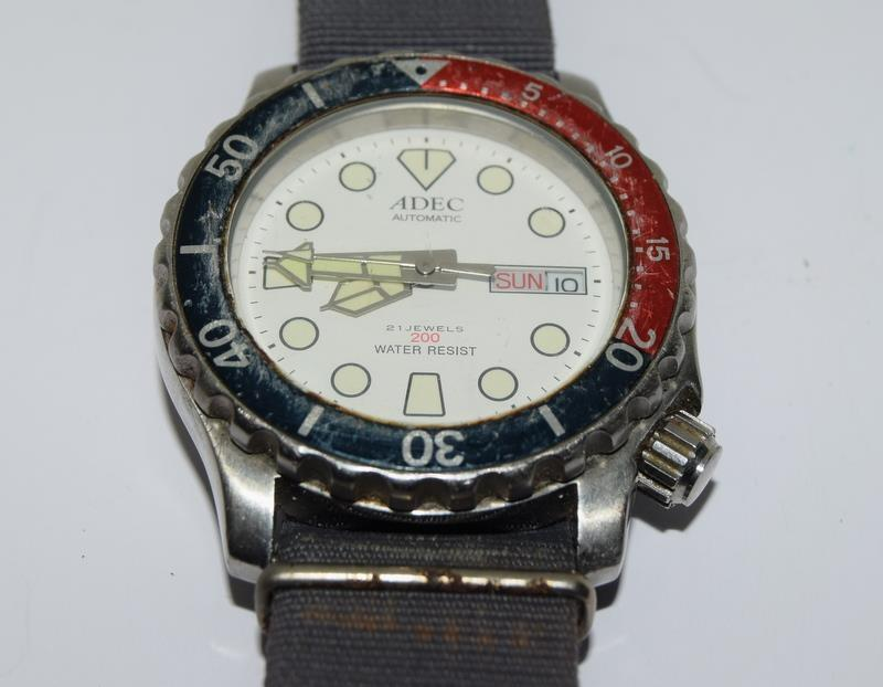 Automatic Adec Diver's Watch on Military Strap, Working. - Image 9 of 10