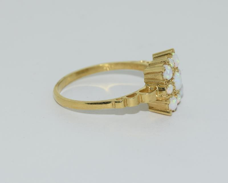 9ct Gold On Silver square Opaline ring. - Image 2 of 6