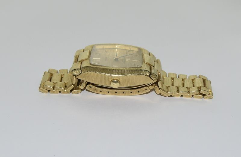 Gents 18ct gold IWC automatic wristwatch bark effect bracelet with gold dial,working order ,total - Image 3 of 8