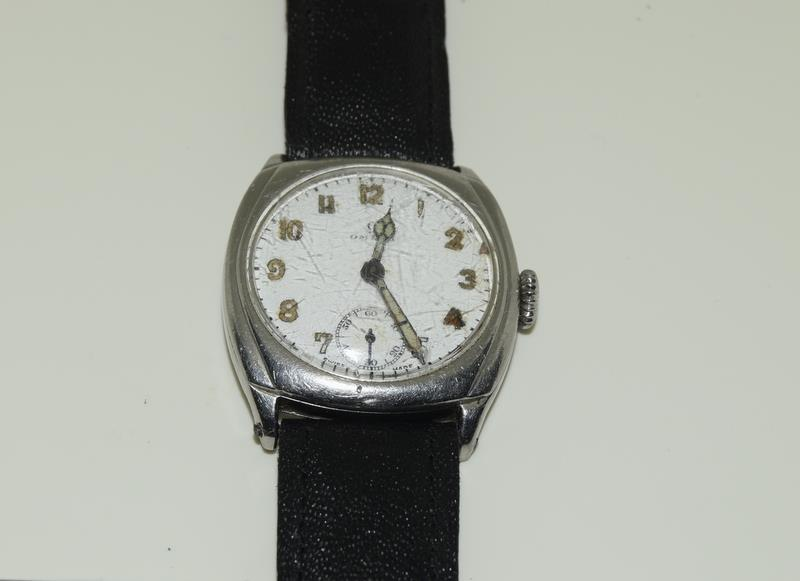 Omega gents 1930/40s manual wind wristwatch of RAF military interest (H.Dinwoodie RAF, British Army,