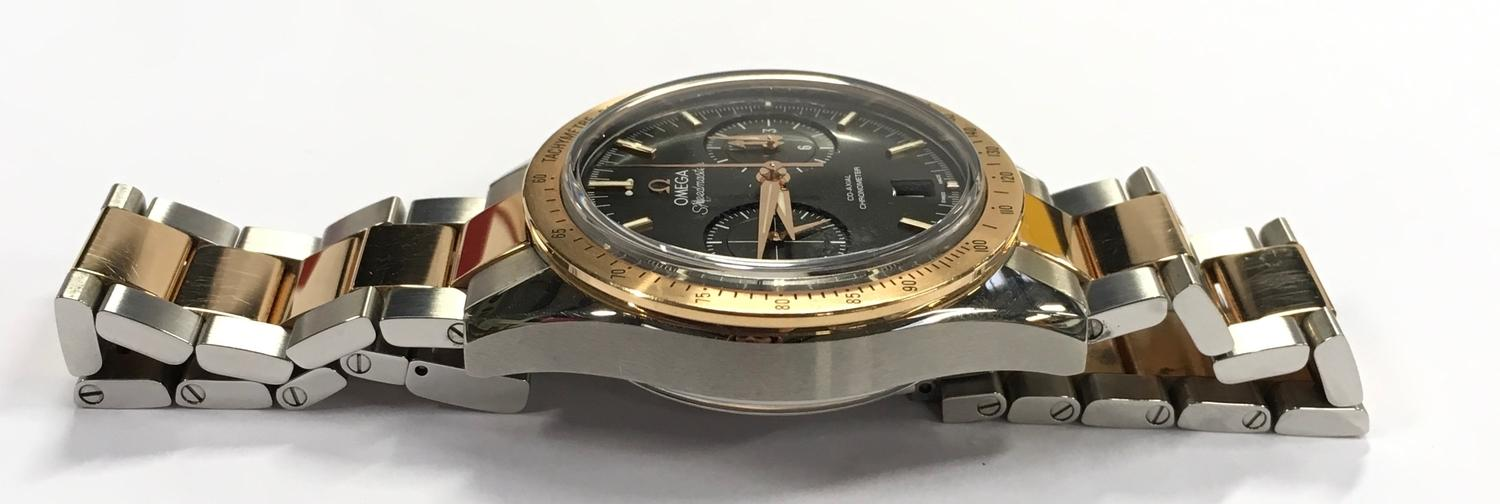 Omega Rose Gold and Stainless Steel Speedmaster Wristwatch, co-axial movement. - Image 5 of 11