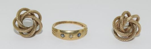 9ct Gold Antique Sapphire & Diamond Ring with a Pair of 9ct Gold Knot Earrings