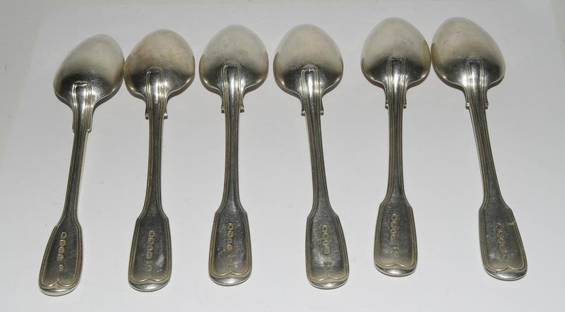 Six Silver hallmarked dessert spoons. 315 grams. - Image 4 of 5