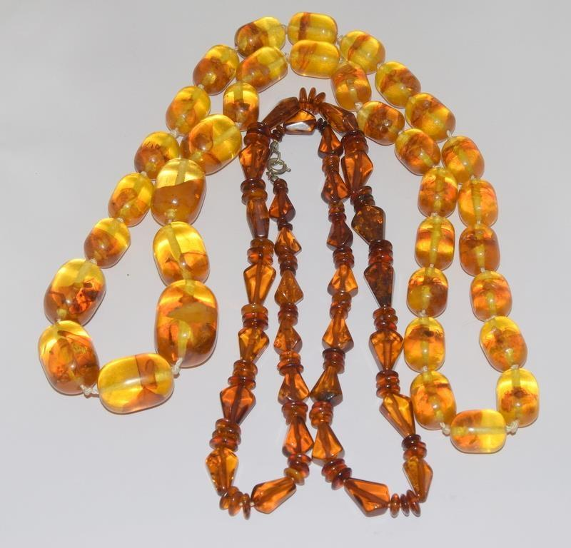 A pair of 1930-40 Amber necklaces.