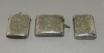 3 Convex Shaped Silver Vesta Cases
