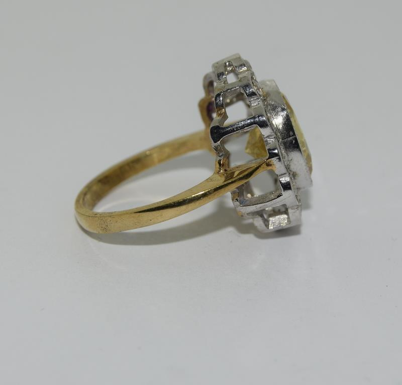 9ct Gold On Silver yellow stone ring. - Image 2 of 6