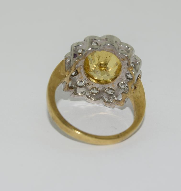 9ct Gold On Silver yellow stone ring. - Image 3 of 6