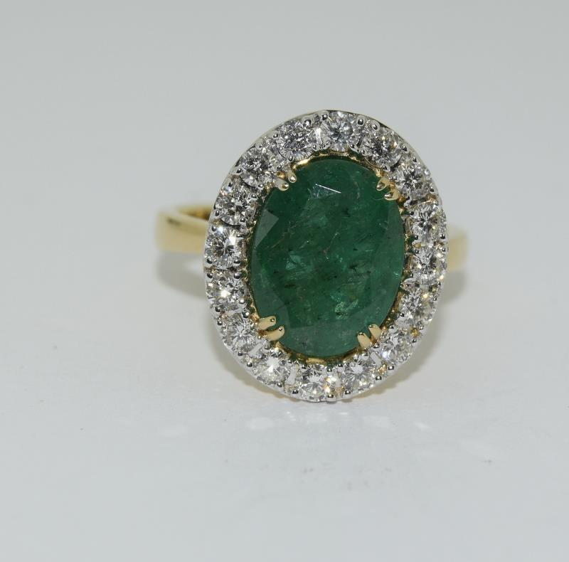 18ct gold Emerald and Diamond ring. Emerald approx 3.6ct and Diamond approx 1ct.
