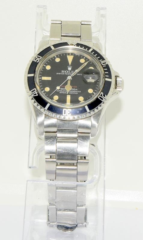 Rolex 1680 'Single Red' Submariner gents wristwatch . Movement 1570 number 306#### 1970s dial has - Image 2 of 11
