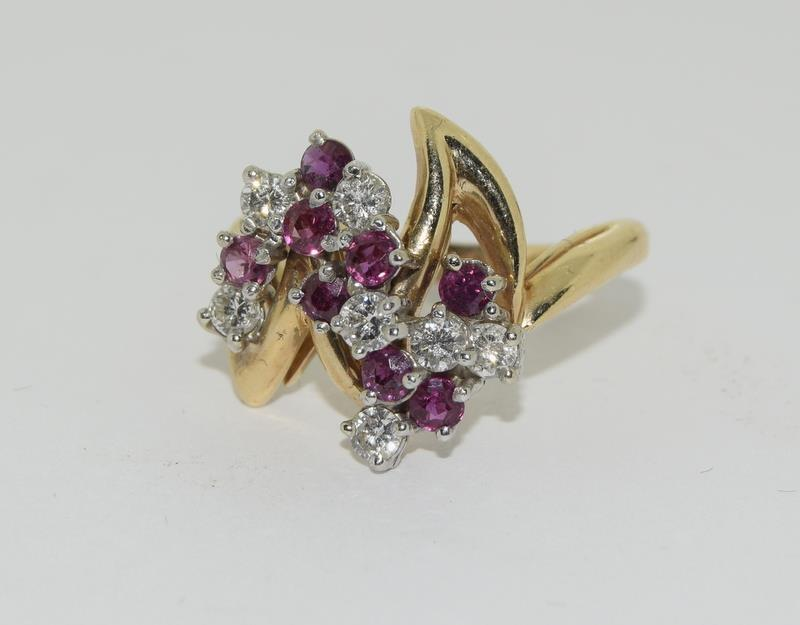 A 14ct yellow gold ruby and diamond ring in the Art Deco style. Size P - Image 6 of 6