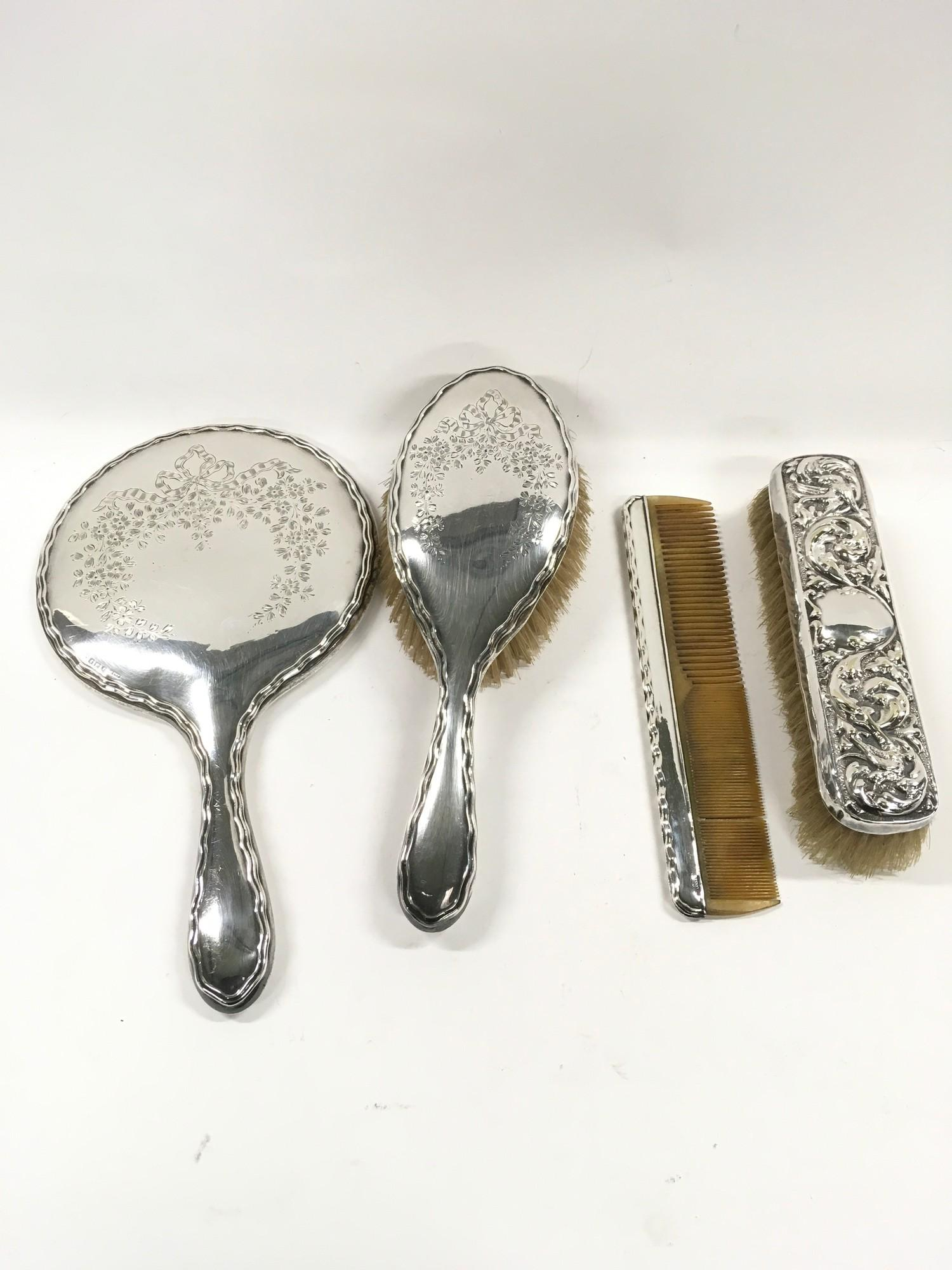 Four piece Silver dressing table set. - Image 3 of 3