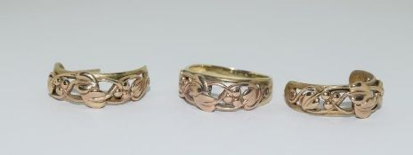 9ct Welsh Gold Band Ring (size Q) & a Matching Pair of Welsh Gold Earrings. 8.78g