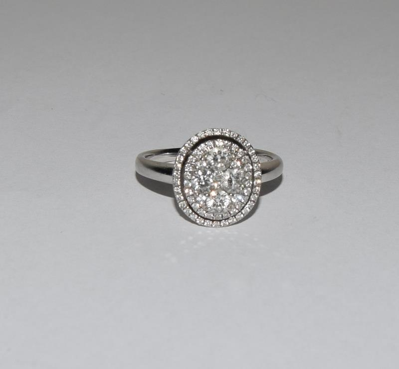 18ct White Gold ladies Diamond Halo set ring. Size O. - Image 5 of 5