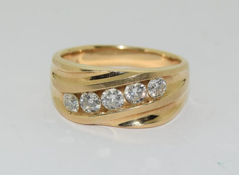 14ct Gold Gents 5 stone Diamond Signet ring. Size W. - Image 9 of 10