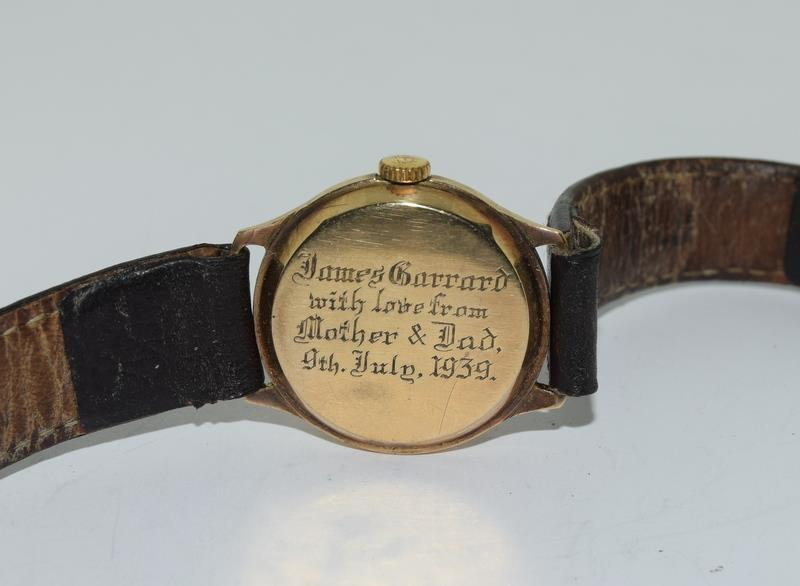 Cyma 1939 gents 9ct Gold wrist watch. - Image 6 of 8