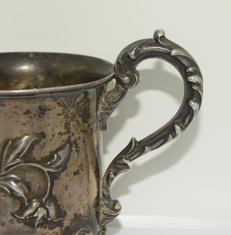 Embossed early Victorian childs christening mug London 1838 maker Charles Riley and George Storer - Image 9 of 9