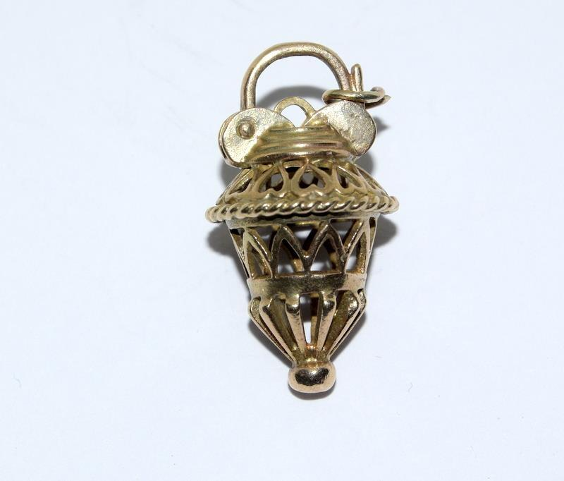 9ct Gold Articulated Birdcage Charm. 27mm. 3.79g