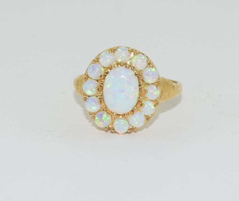9ct Gold On Silver Opaline Cluster ring. - Image 6 of 6