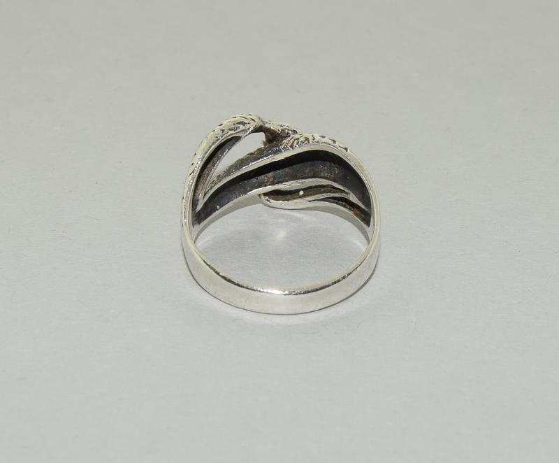 Large Vintage 925 Silver Snake Ring. Size V - Image 3 of 3