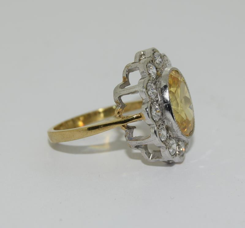 9ct Gold On Silver yellow stone ring. - Image 5 of 6