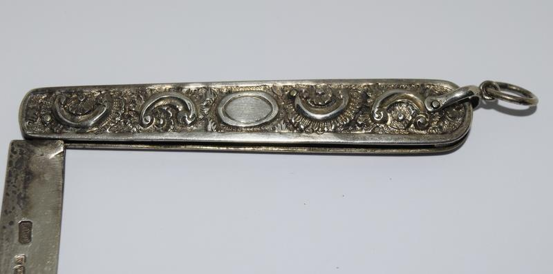 Silver Hallmarked Embossed Handled Fruit Knife together with a Silver Napkin Pin - Image 2 of 7