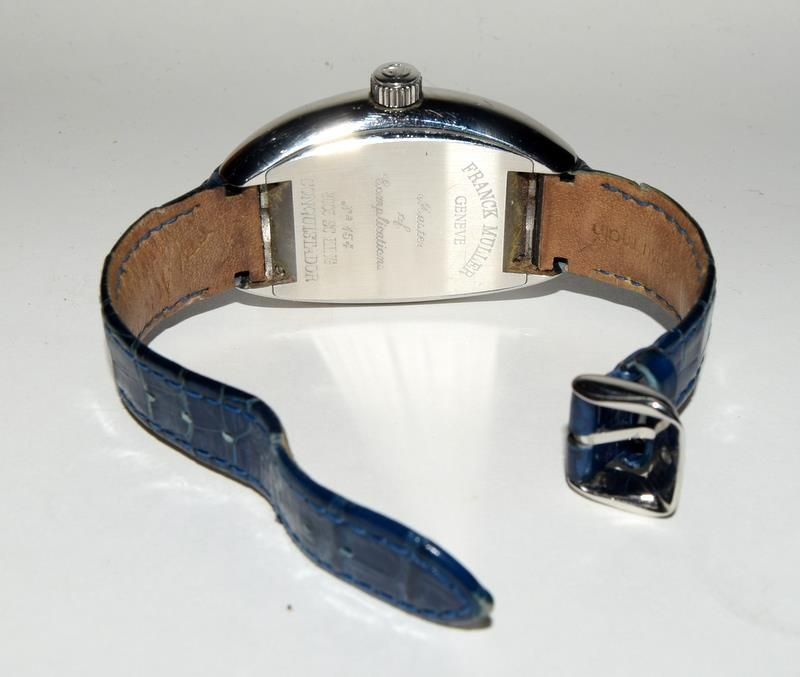 Franck Muller Stainless Steel King Conquistador wristwatch on leather strap, boxed and papers Ref. - Image 3 of 7