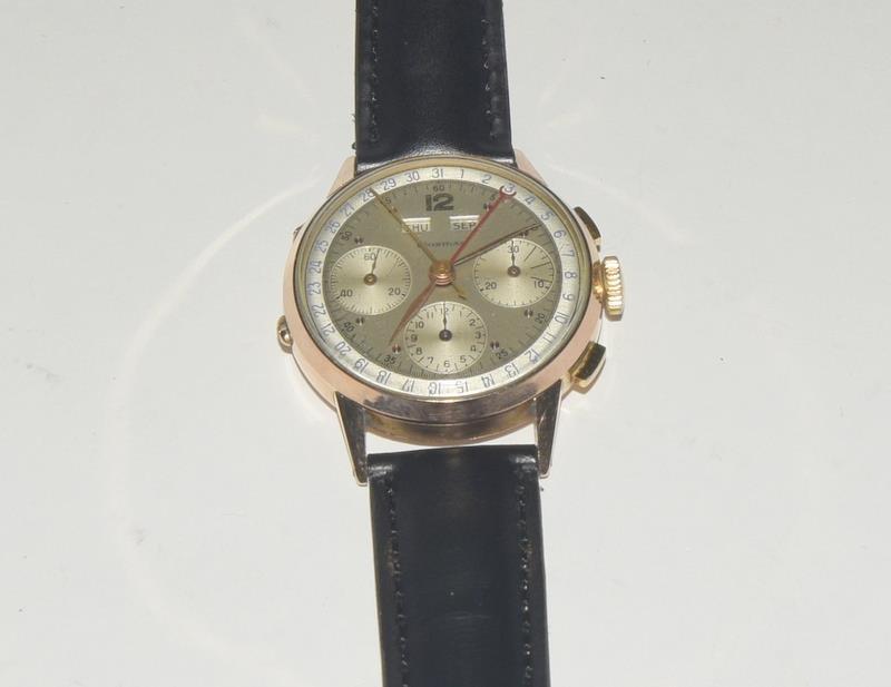 18ct Rose Gold Leonodas Triple Calander Chronograph Wristwatch. No.492472. - Image 5 of 6