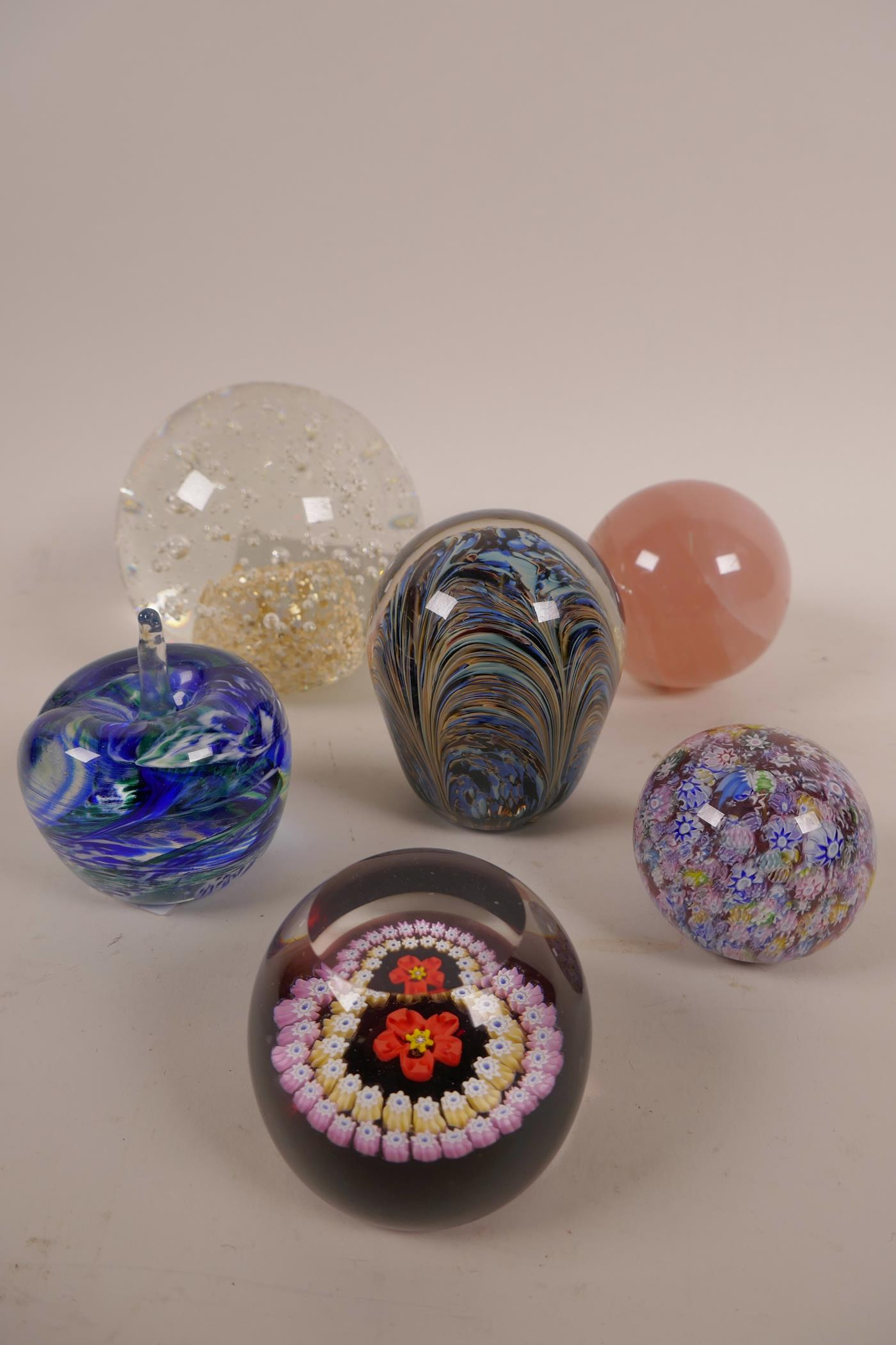 Lot 14 - Six paperweights, including Caithness 'Red Rose', 'Avondale Glass', Adrian Sankey and rose quartz,