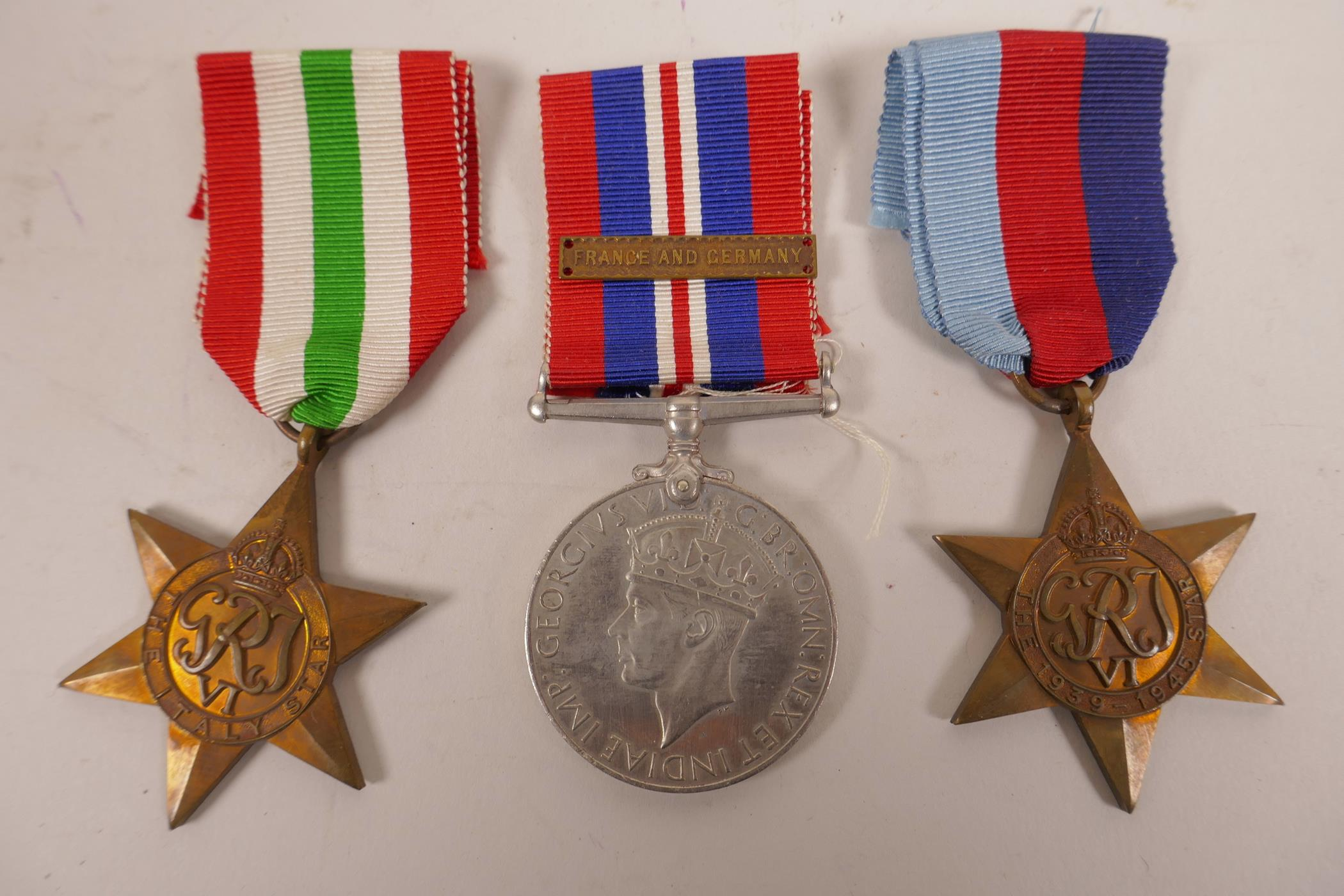 Lot 22 - Six WWII 1939-45 war medals; 'The Atlantic Star', 'The Italy Star', 'The Burma Star', 'The Africa