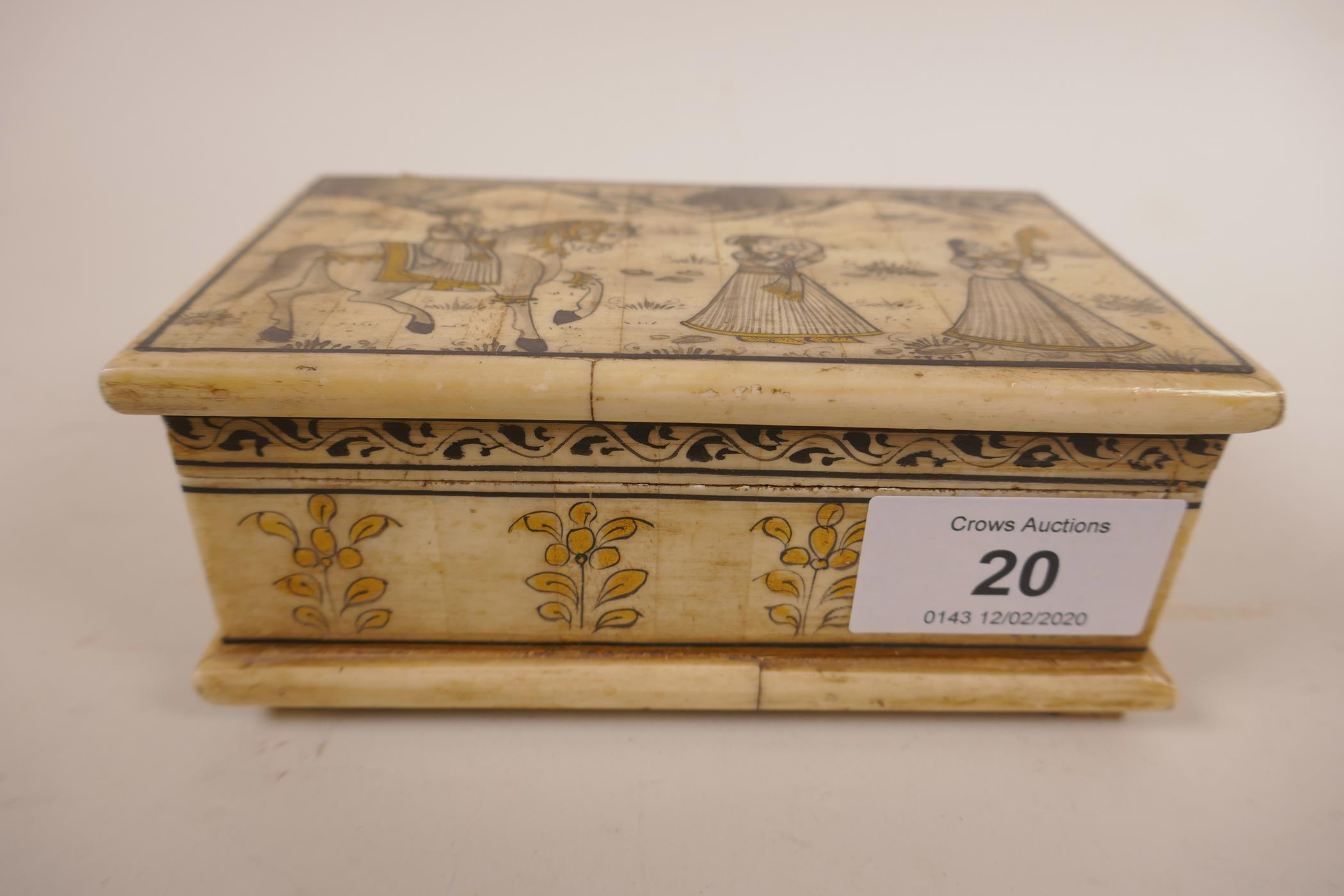 Lot 20 - An Indian bone box and cover, beautifully painted with intricate decoration featuring gold and