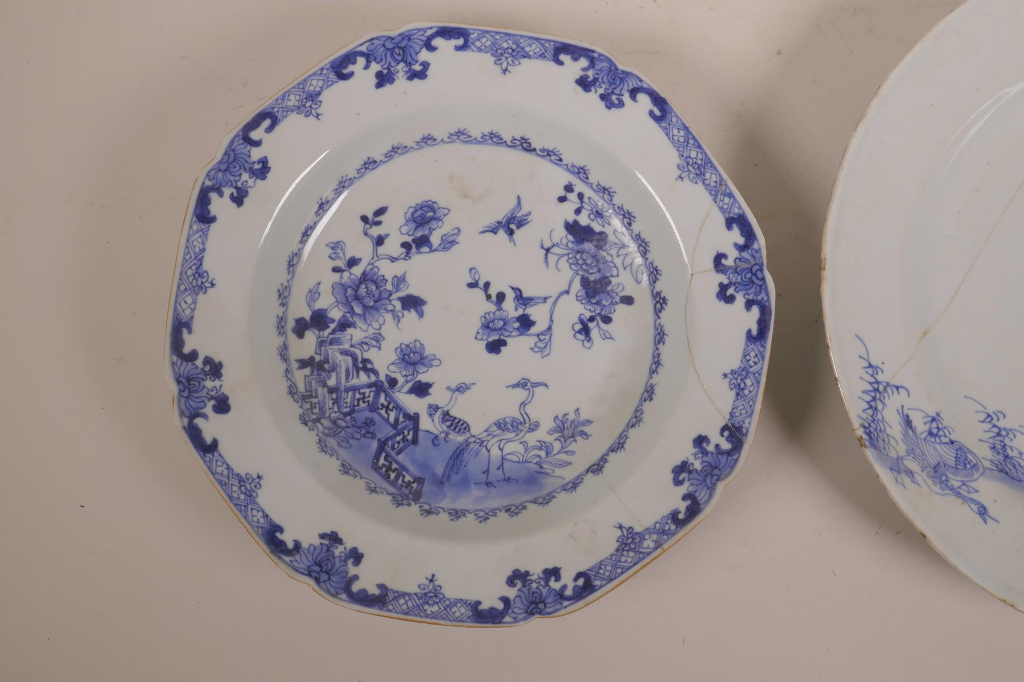 Lot 5 - A late C18th/early 19th Chinese blue and white dish with waterfowl decoration, and another with