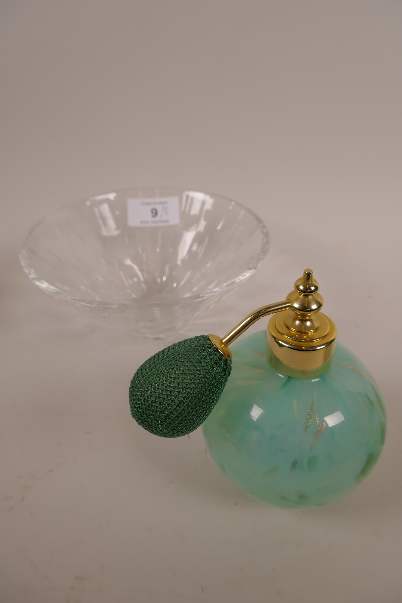 Lot 9 - A Stuart lead crystal bowl, plus two scent bottles in decorative art glass, a cut glass trinket
