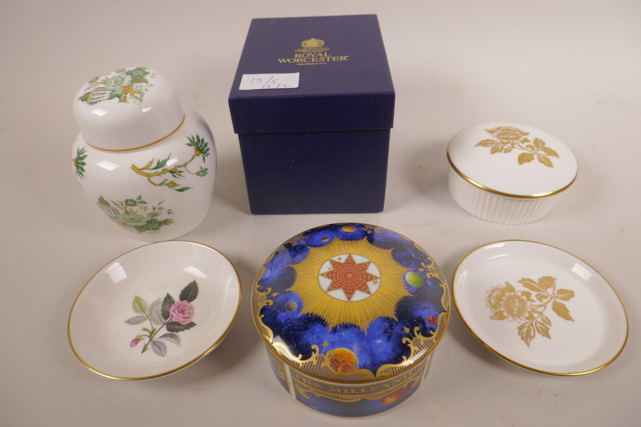 Lot 13 - A Royal Worcester porcelain Celestial 'Millenium' pot and cover, stamped to base, in original box, a