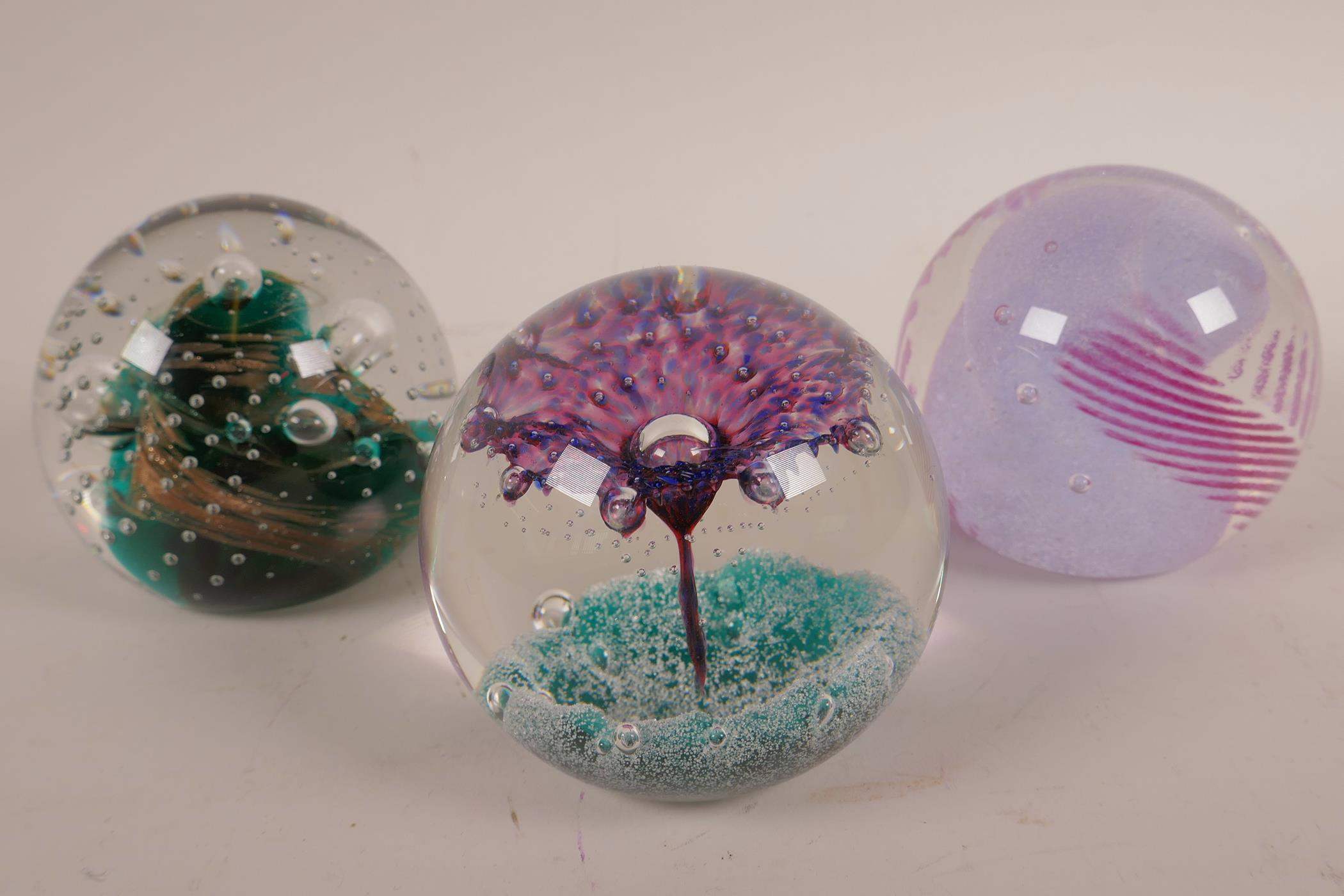 Lot 12 - Six Caithness paperweights, all numbered and individually titled; 'Moonflower', 'Goldrush', '