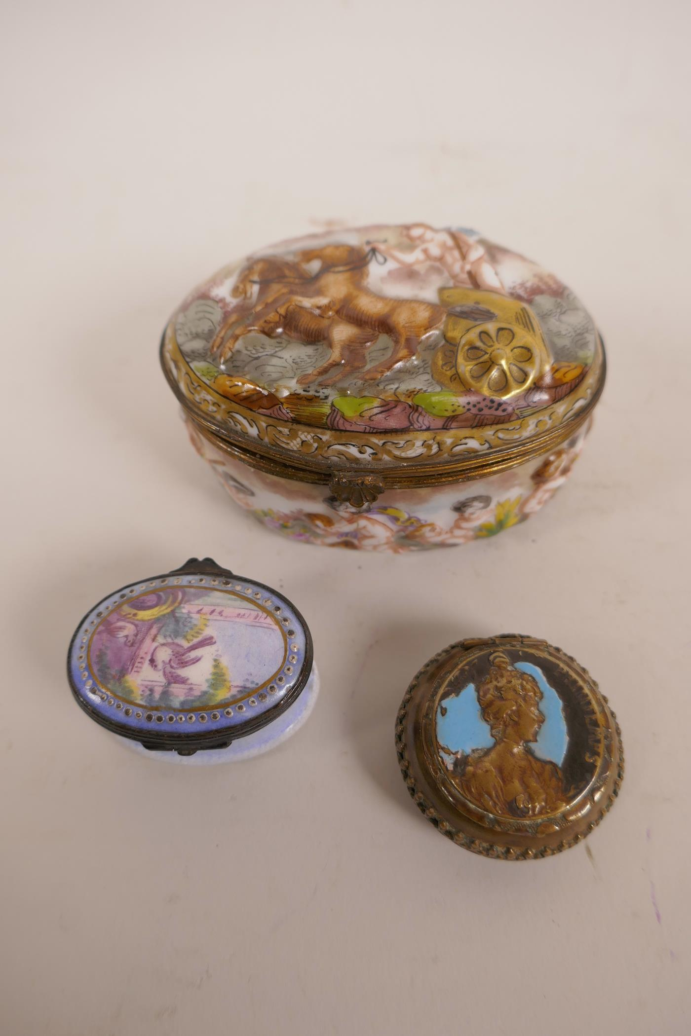 Lot 19 - Two C19th enamel patch boxes, and a large enamelled Naples box decorated with cherubs and a Roman